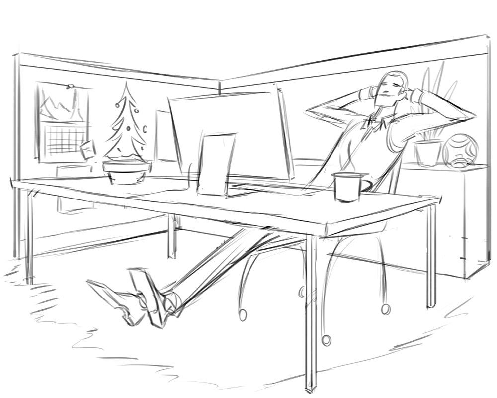 Relaxing in the Office · Sketch