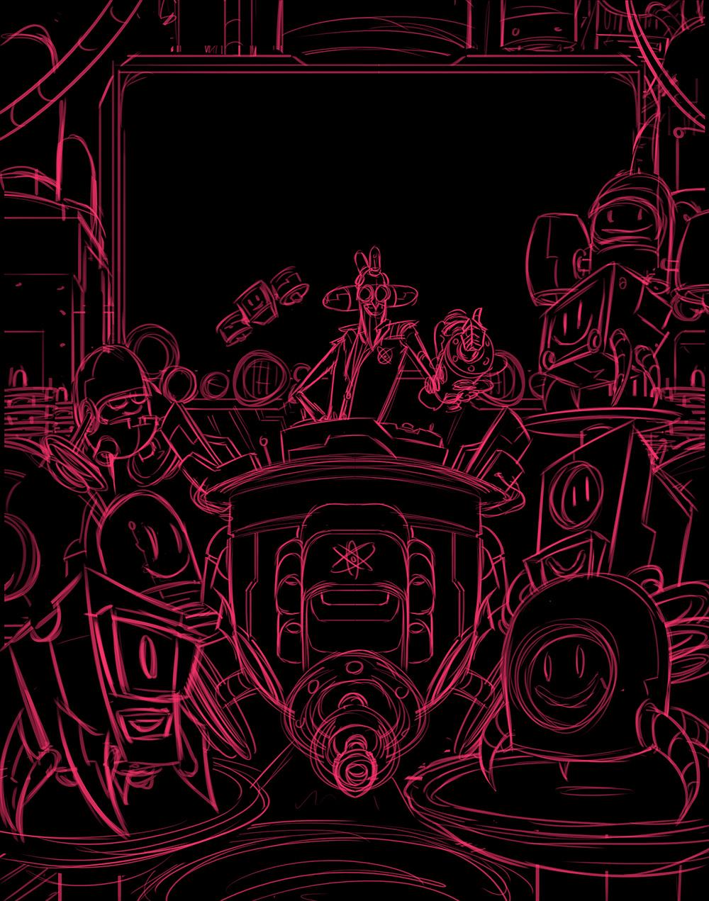 Robot Workshop ·   2014 ·  Victory Screen Sketch