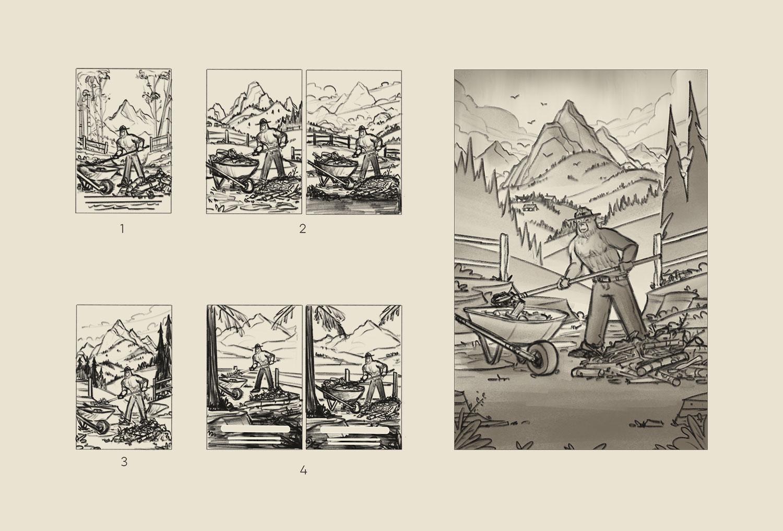 Smokey Bear    Thumbnail Sketches