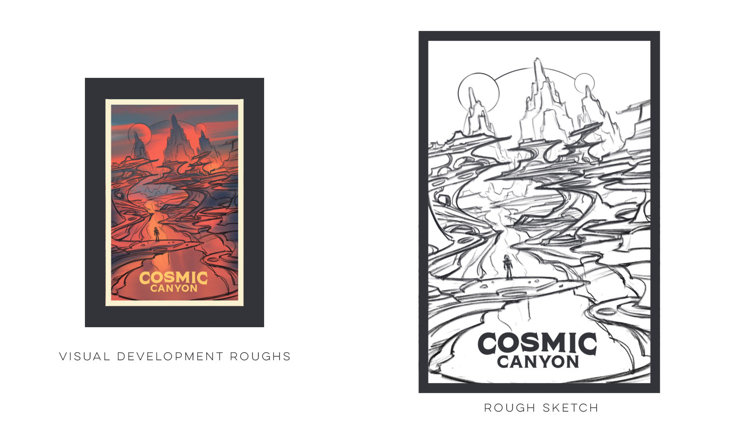 Space Park  ·  Cosmic Canyon  · Thumbnail Sketches