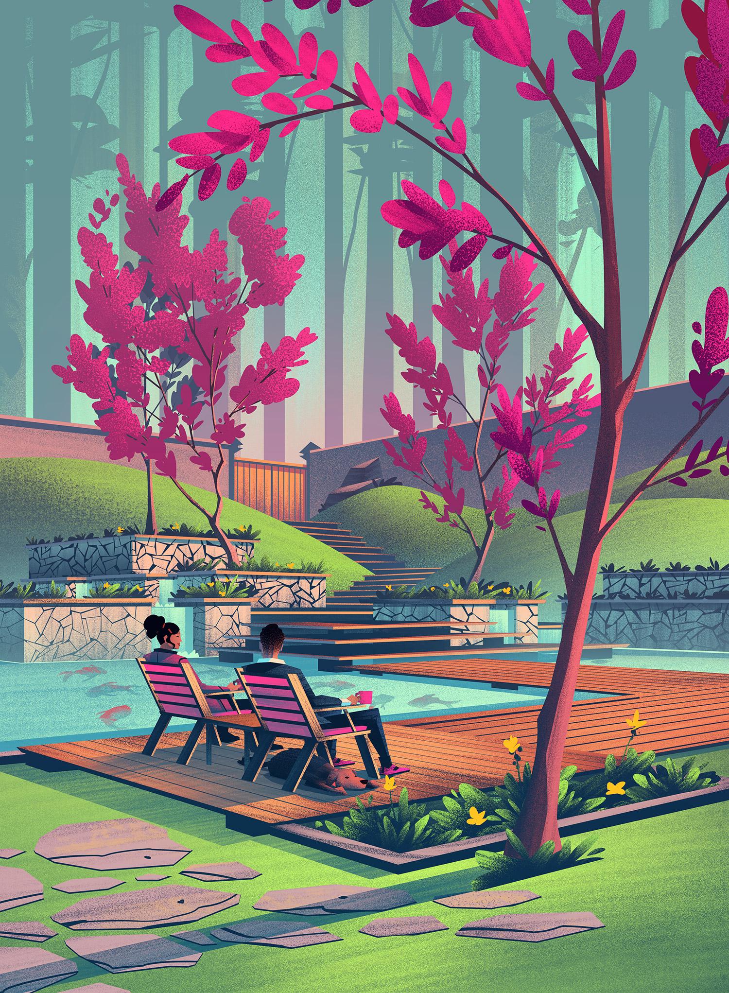 Oldetowne  · Full Spring Illustration
