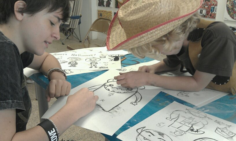 teaching art classes to 6-12 year olds.