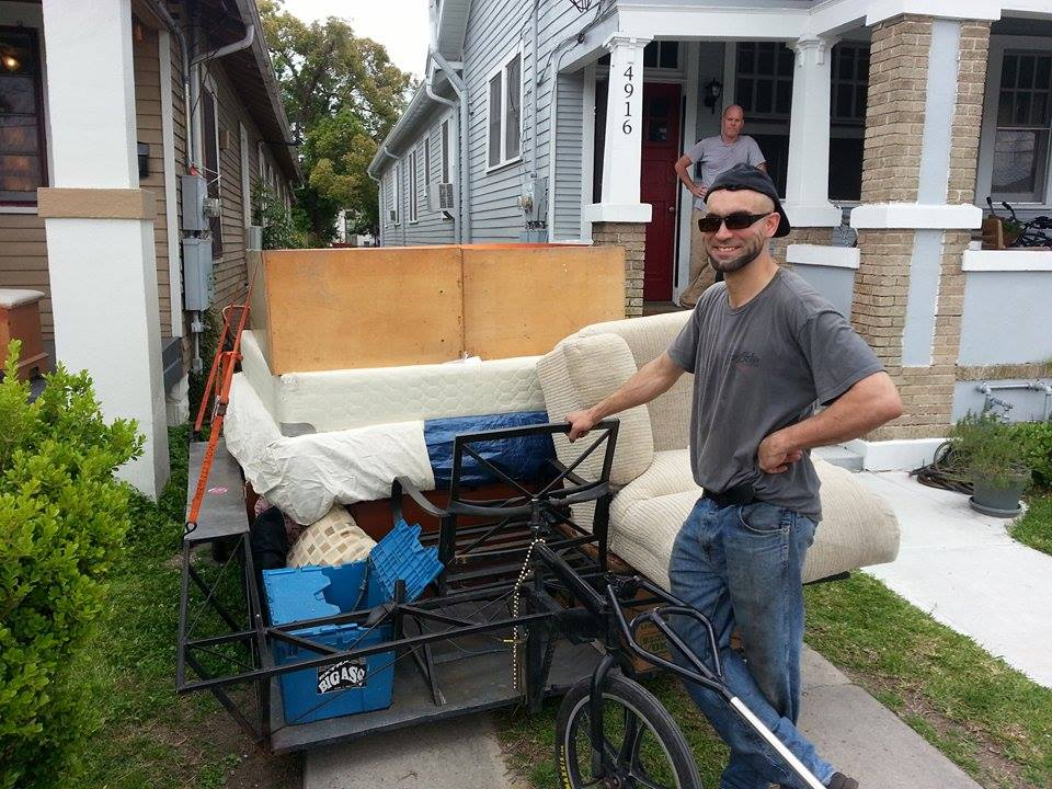 Peter Stanley of Baller Quest with the trailer he built loaded and ready to roll.