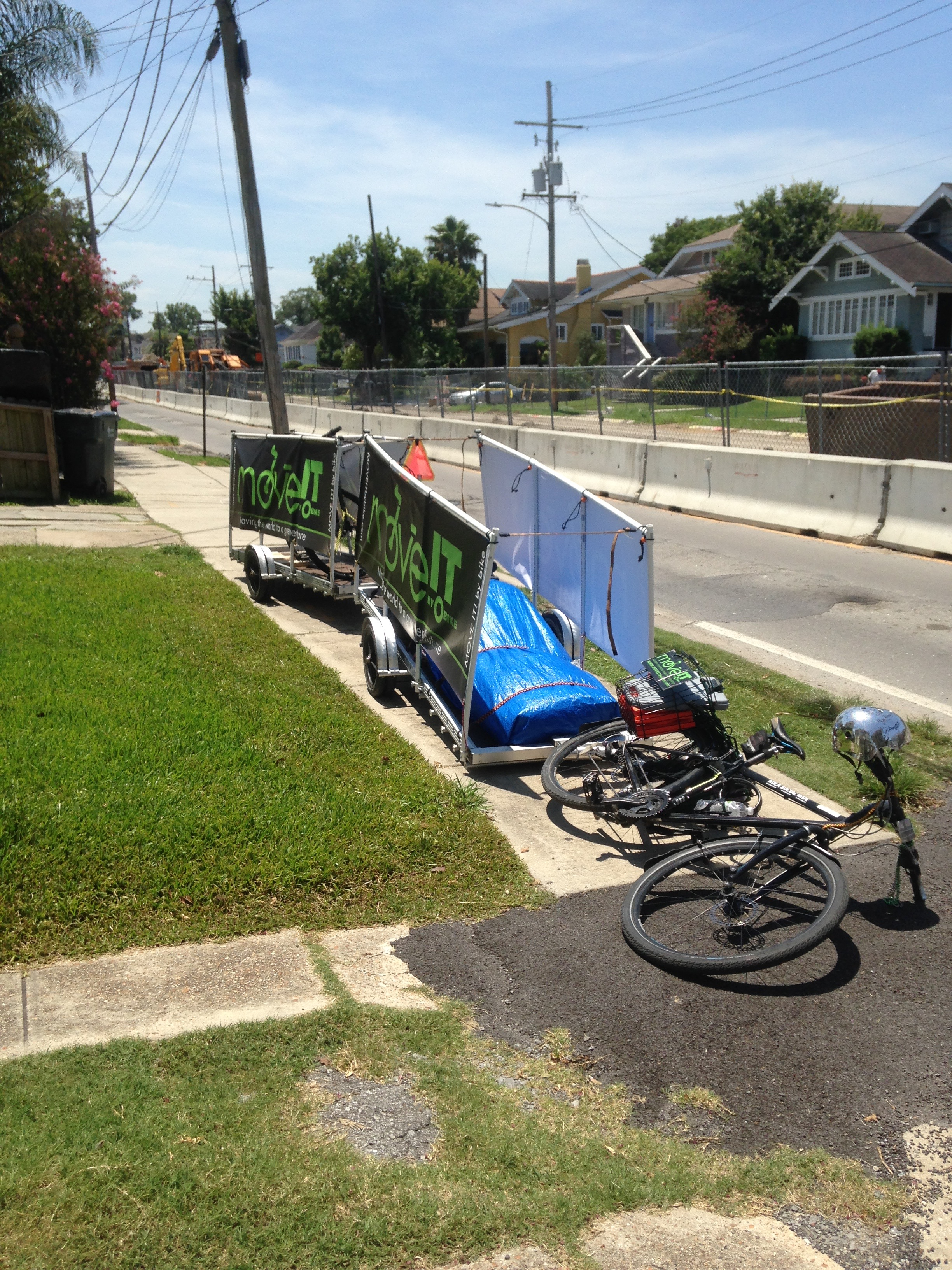 One bike pulls both of our trailers, one bicycle and our moving equipment to and from the job.