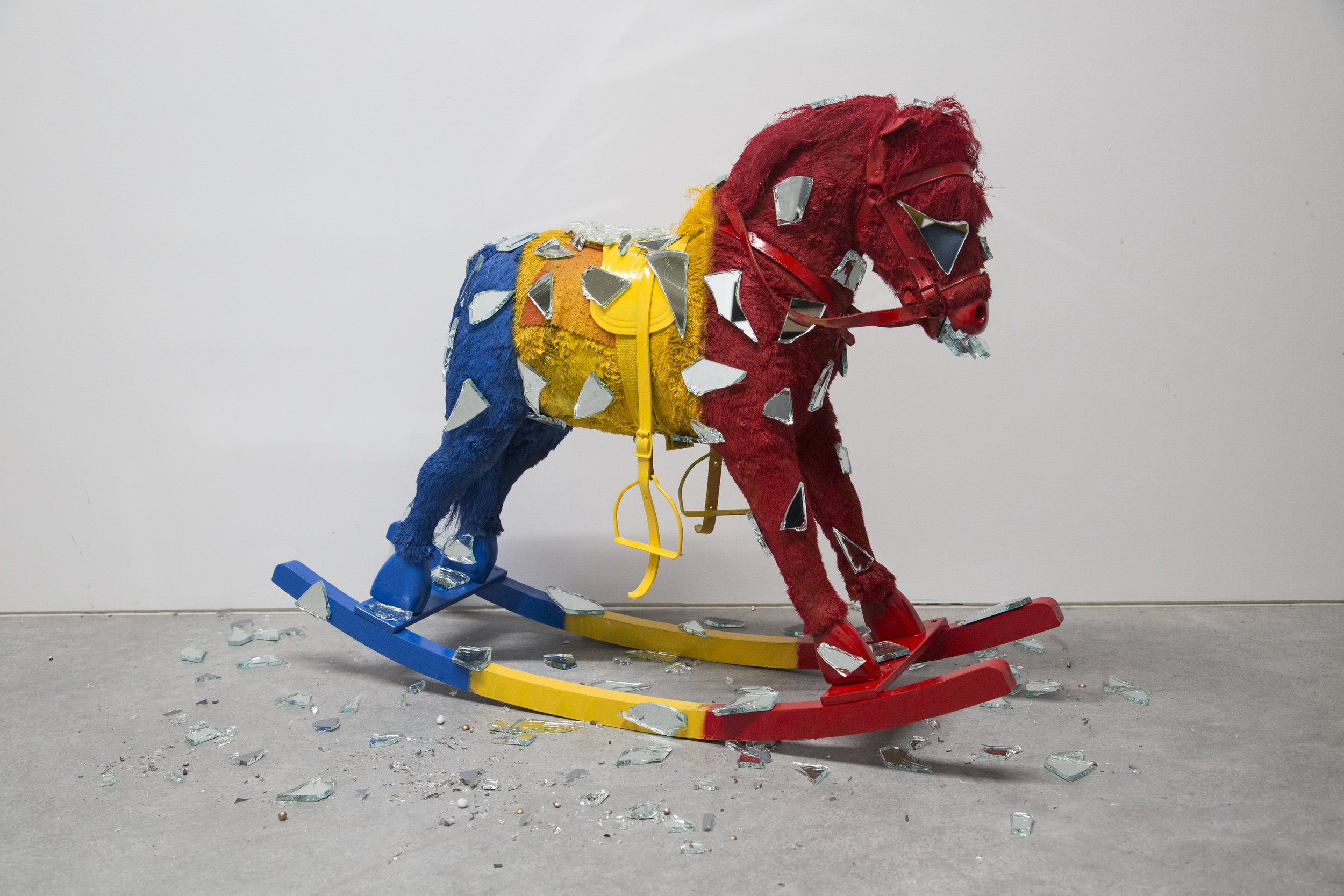 Red, Yellow, Blue,  2018  Mixed media sculpture  35 in x 25 in