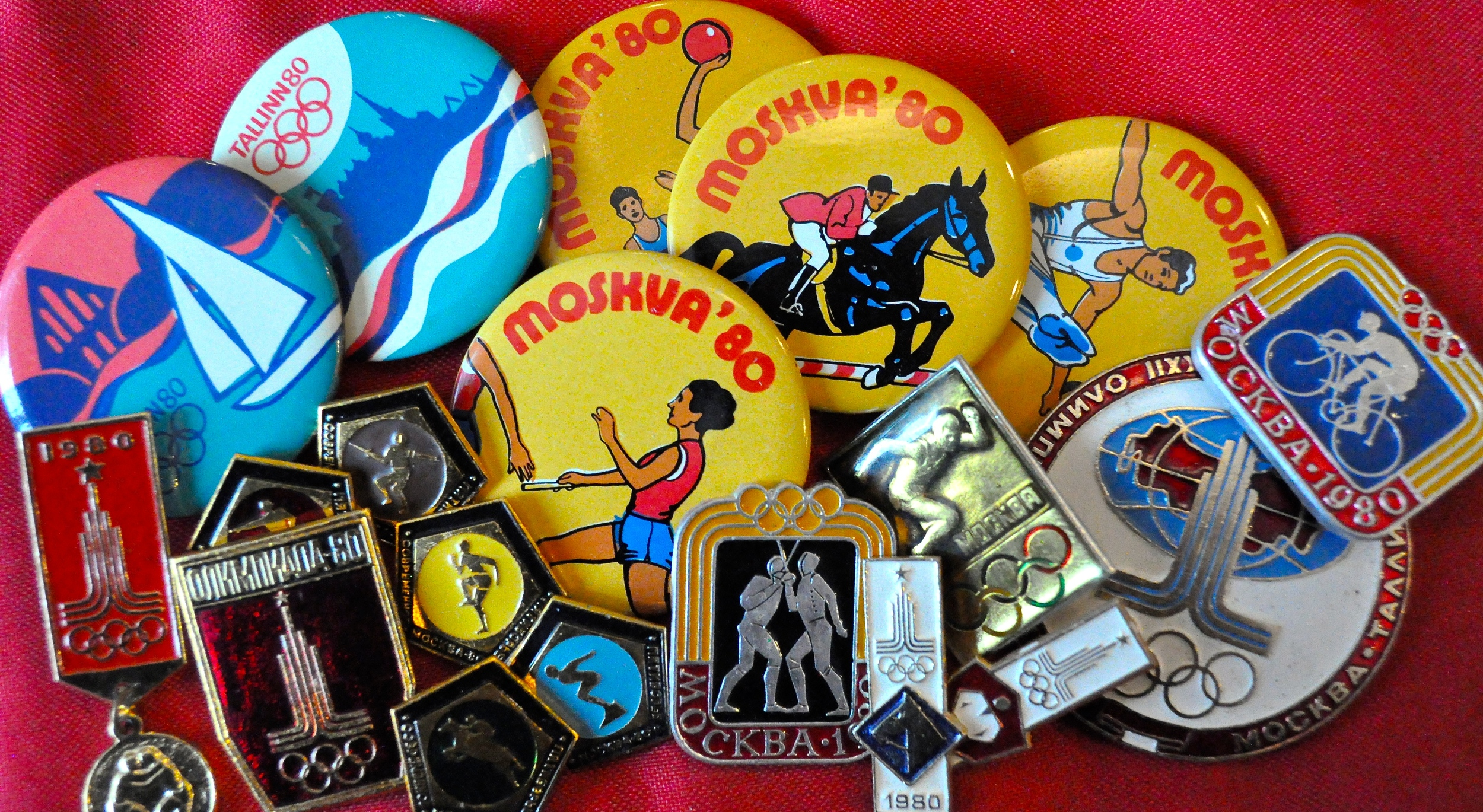 A selection of Moscow Olympic pins brought home from our 1977 trip.