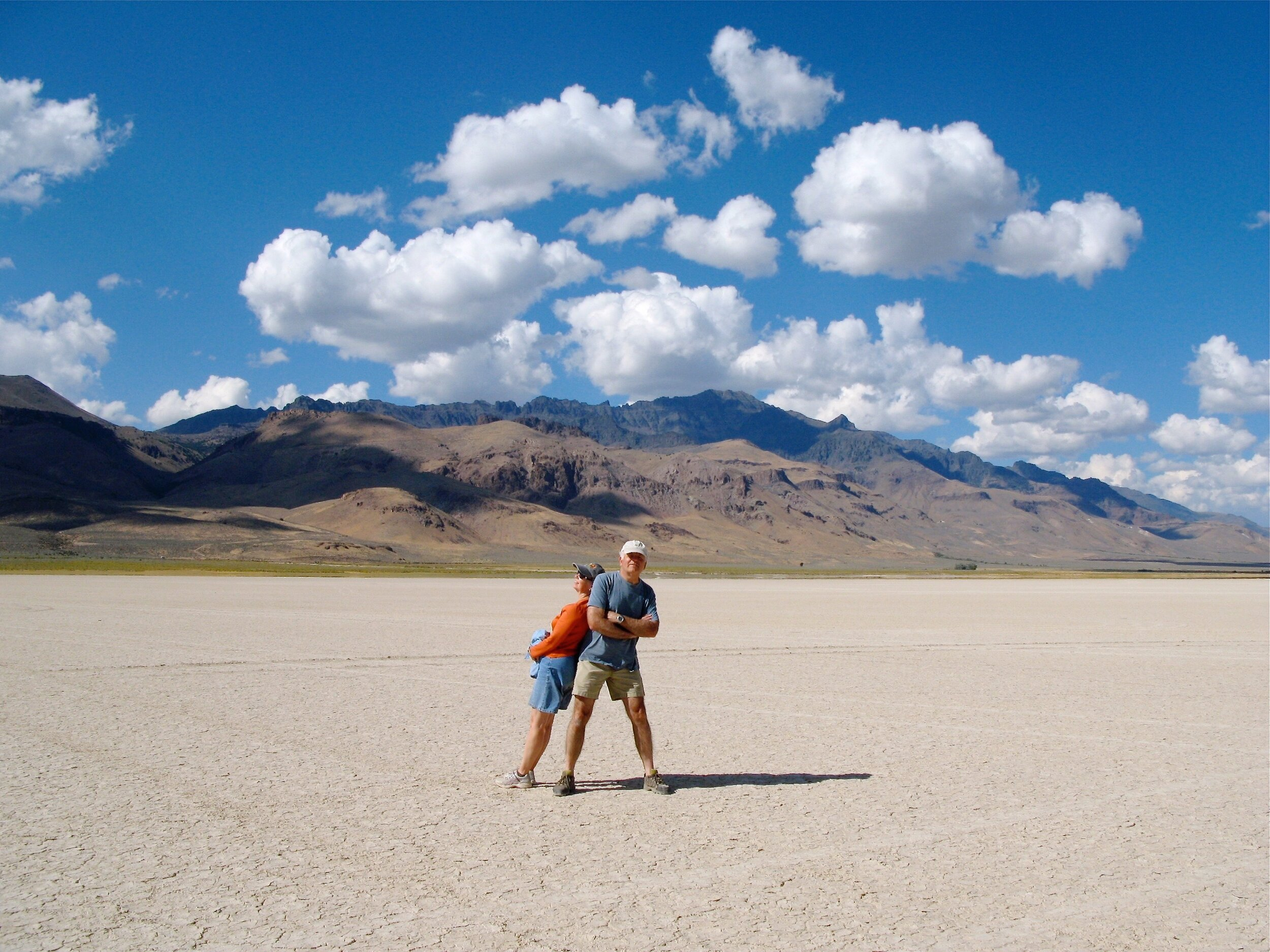 Someone to lean on. Ray and I in the Alvord Desert.