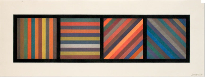 Bands of Lines in Four Directions (Horizontal Rectangle)