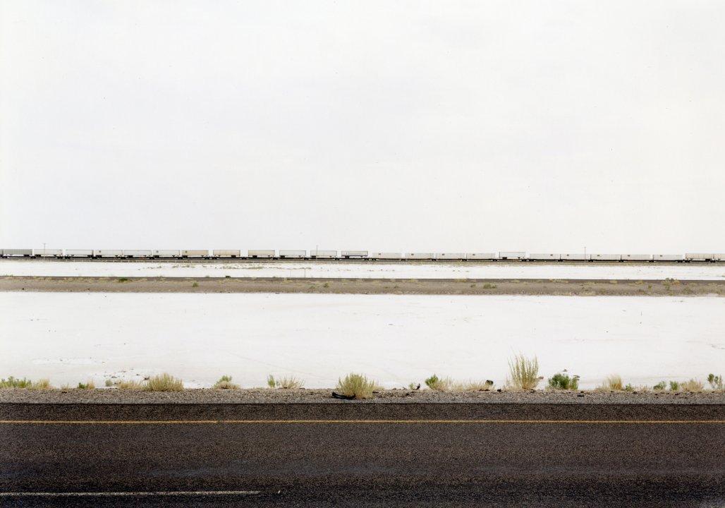 Untitled (White Trains on Salt Flats, I-80), Great Salt Lake Desert Utah