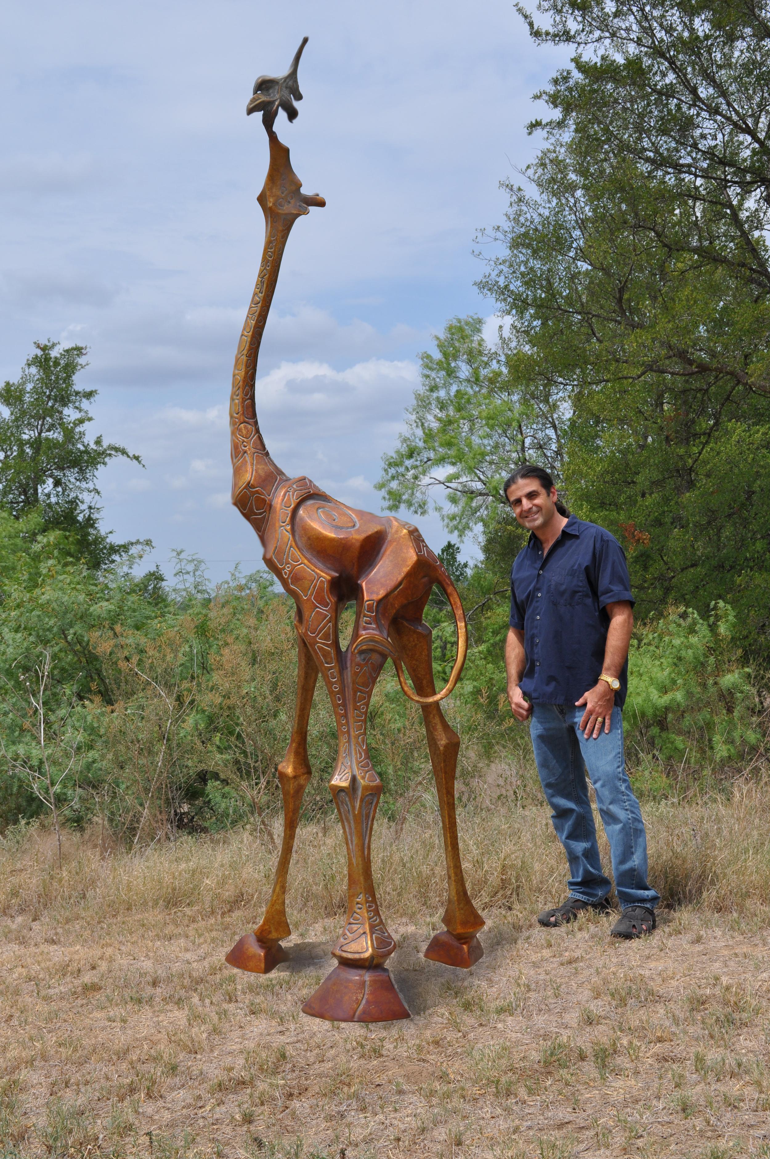 Giraffe Bronze Sculpture Monument by John Maisano