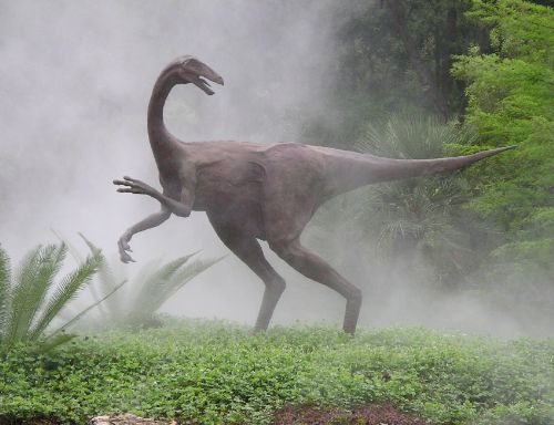 Ornithomimid Dinosaur Sculpture, Hartman Prehistoric Garden at Zilker Botanical Gardens, Austin TX