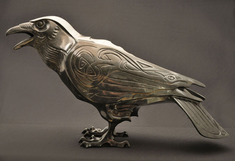 Raven Bronze Sculpture by John Maisano