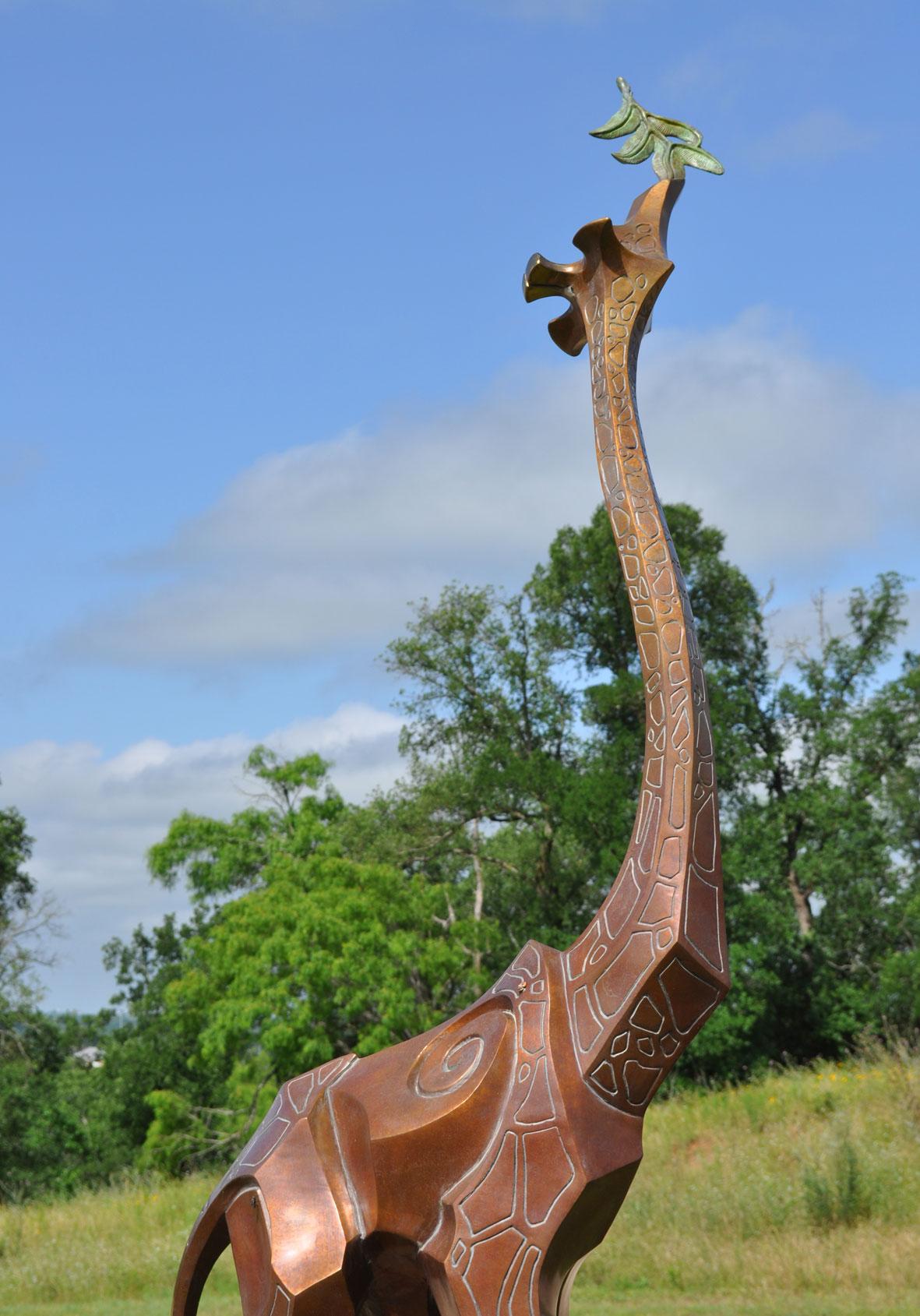 Bronze Giraffe Monument, Old Oaks Ranch Sculpture Garden, Wimberley TX