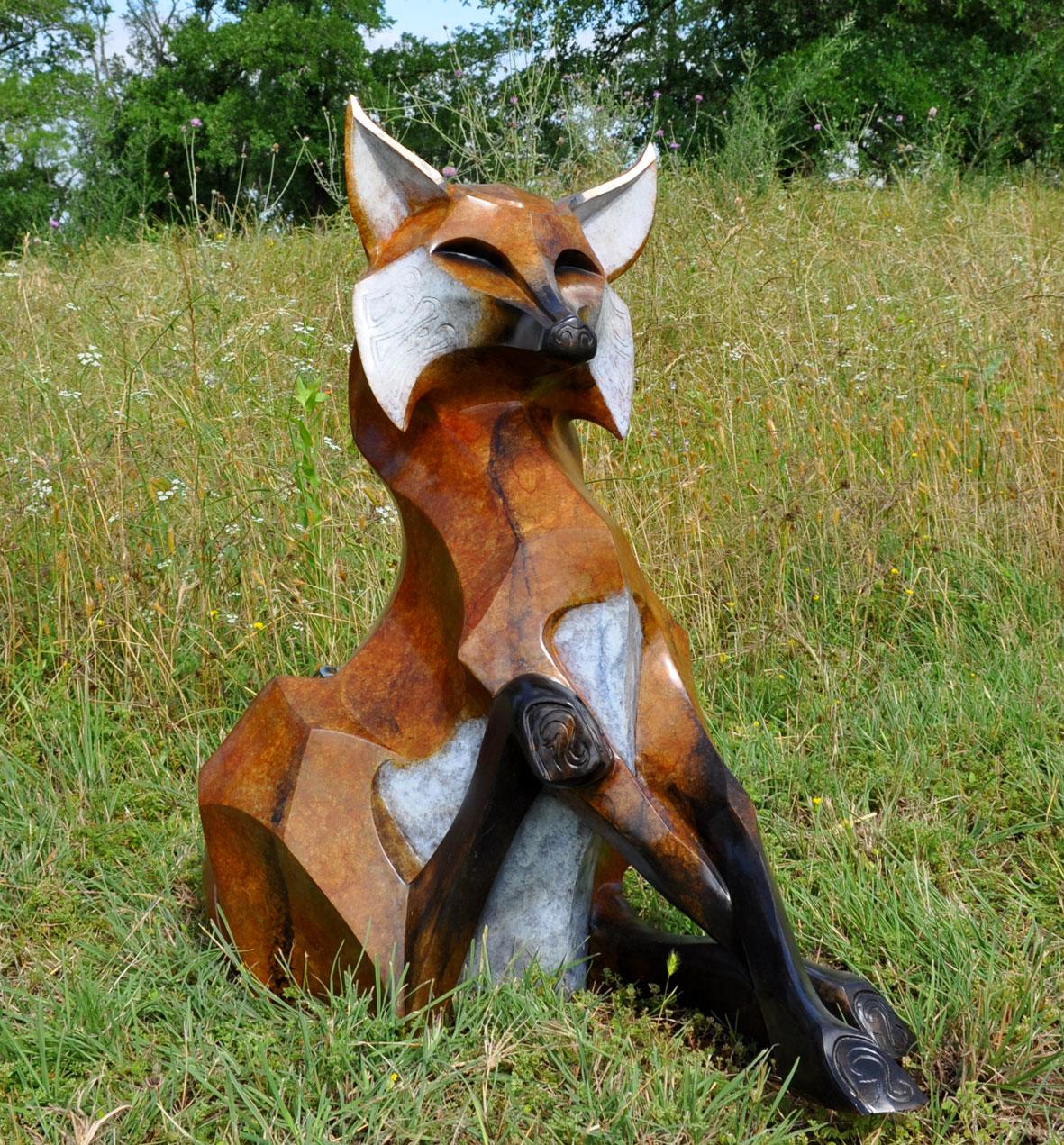 """Bronze Fox Sculpture - """"Roxy"""""""