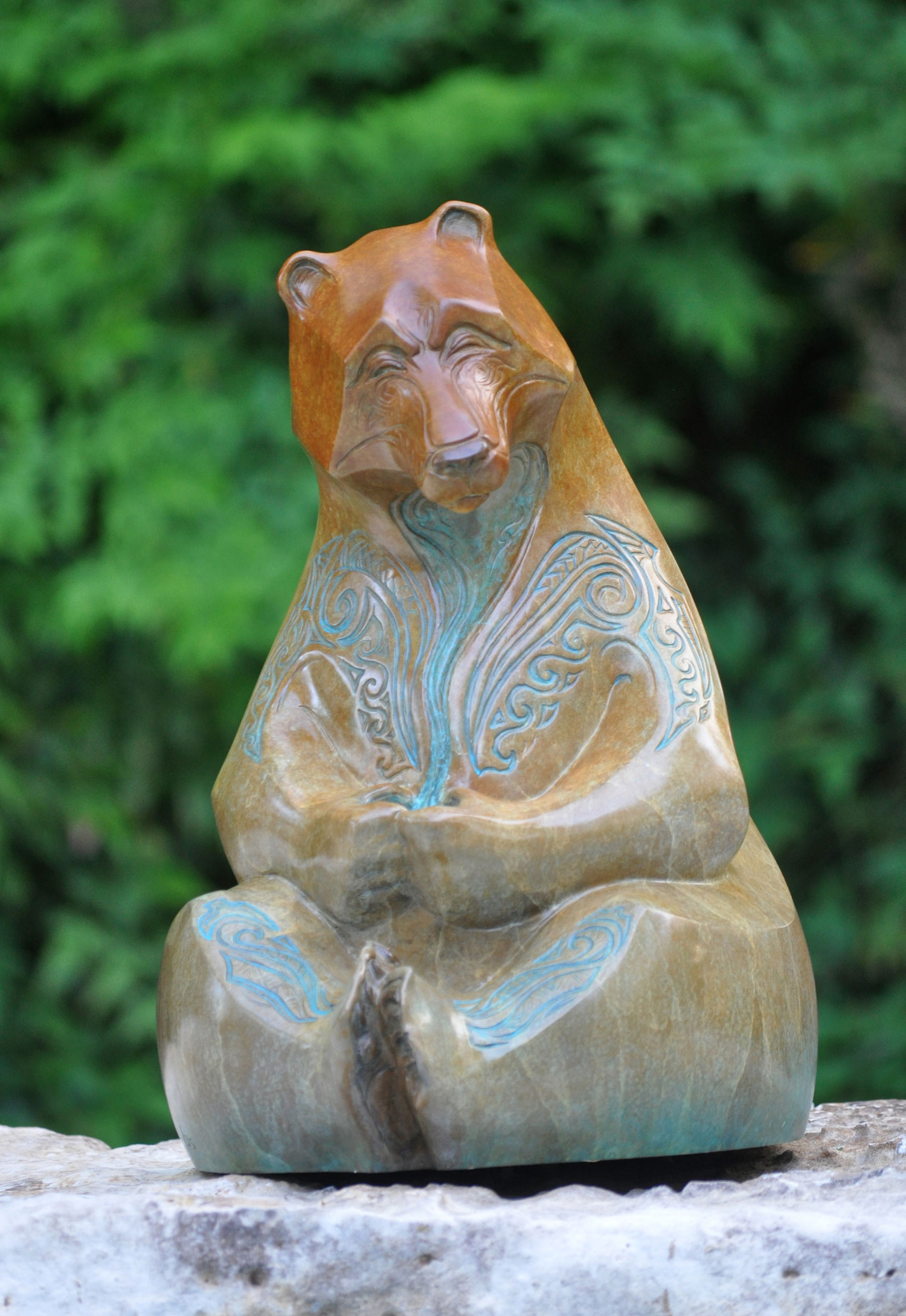 Bronze bear Hilo sculpture by John Maisano