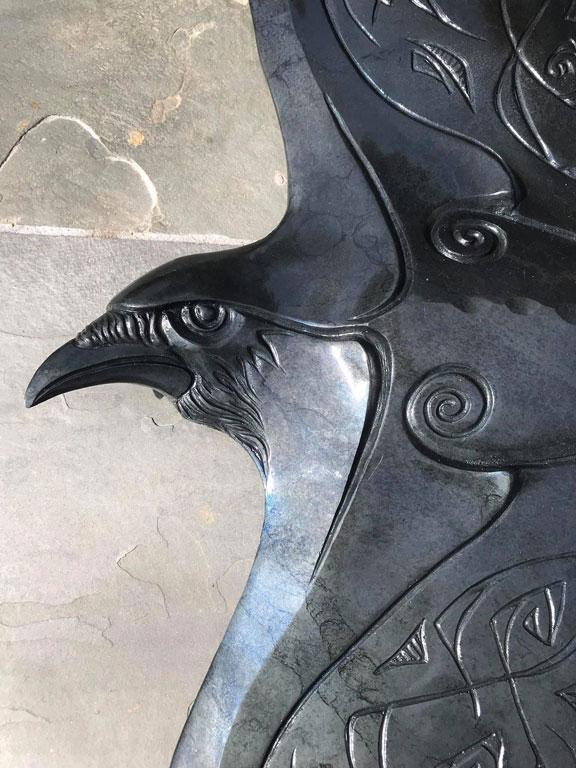 bronze raven sculpture john maisano