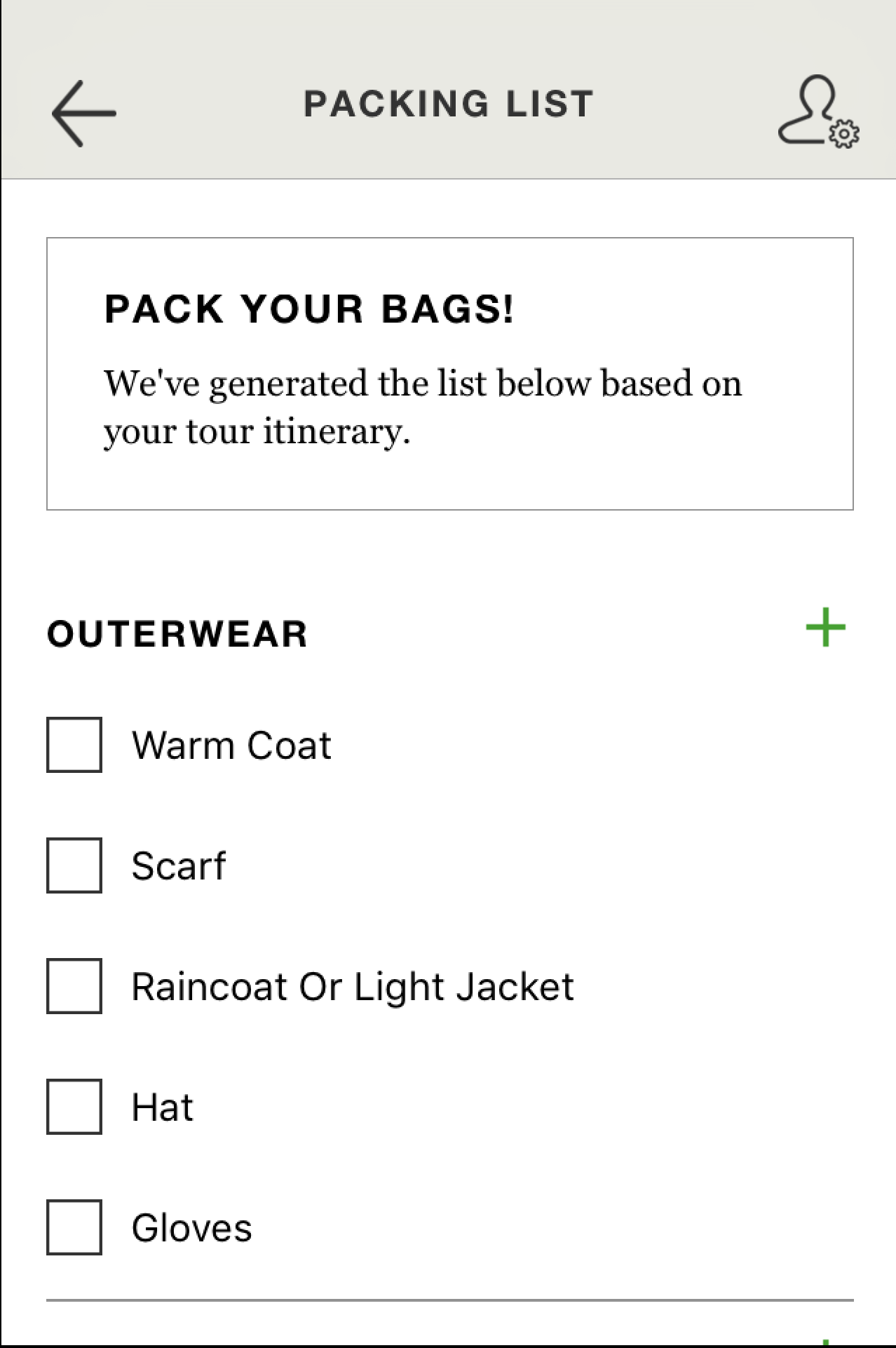 Packing list (click to enlarge)
