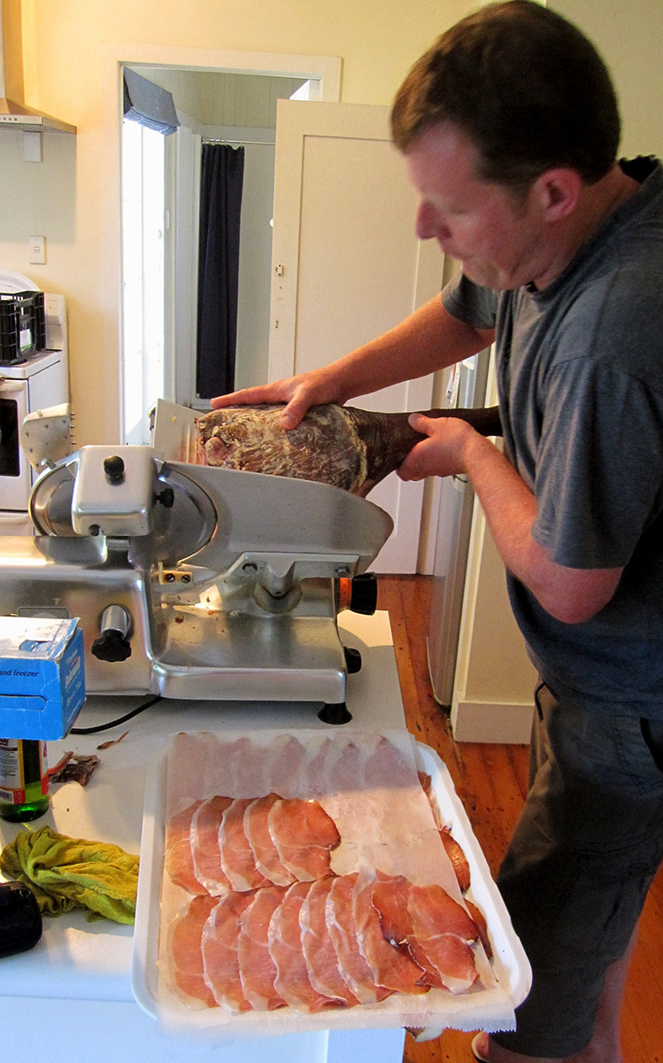 Alex slicing the country ham