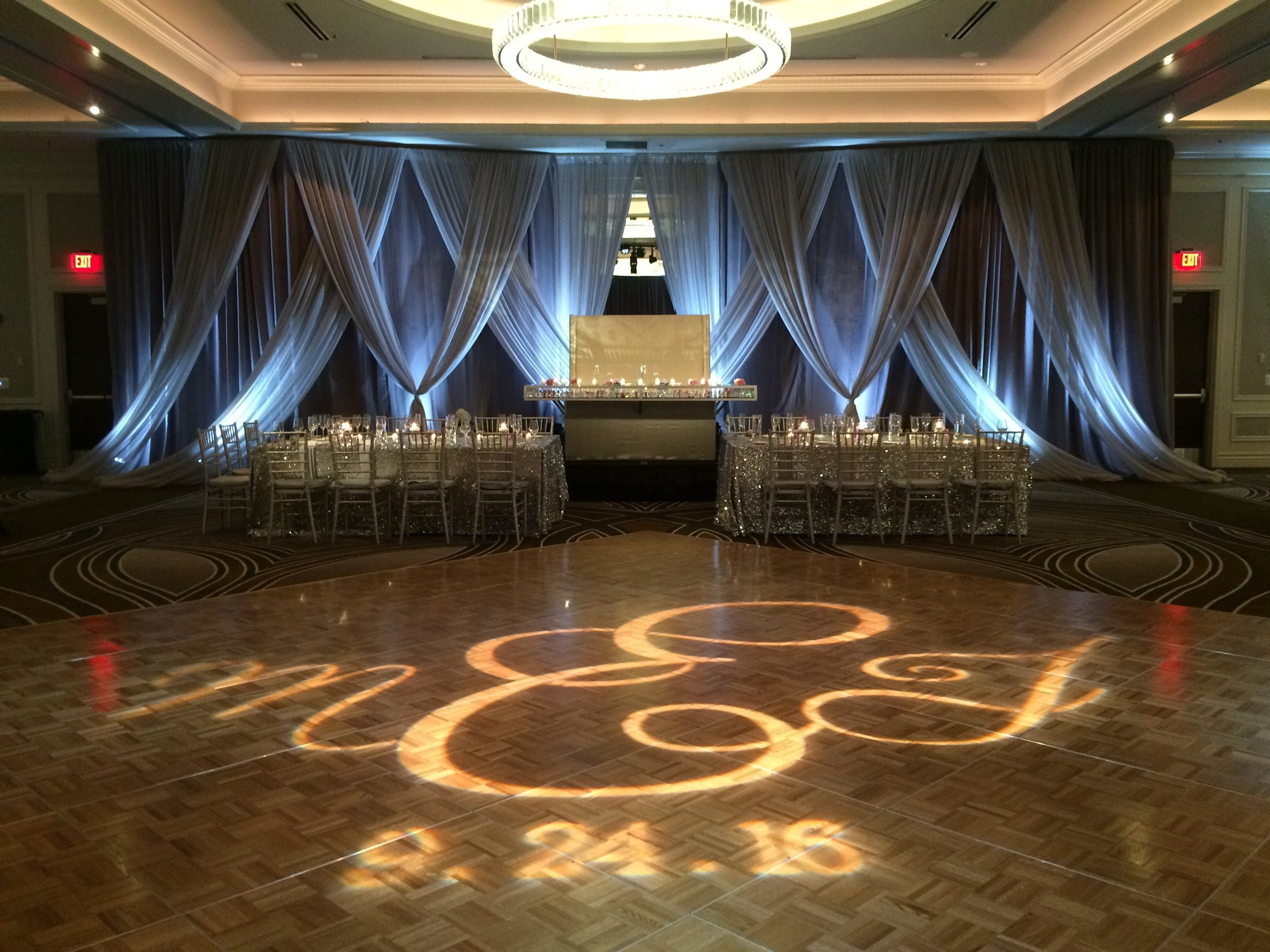 Up-Lights and Custom Dance Floor GOBO