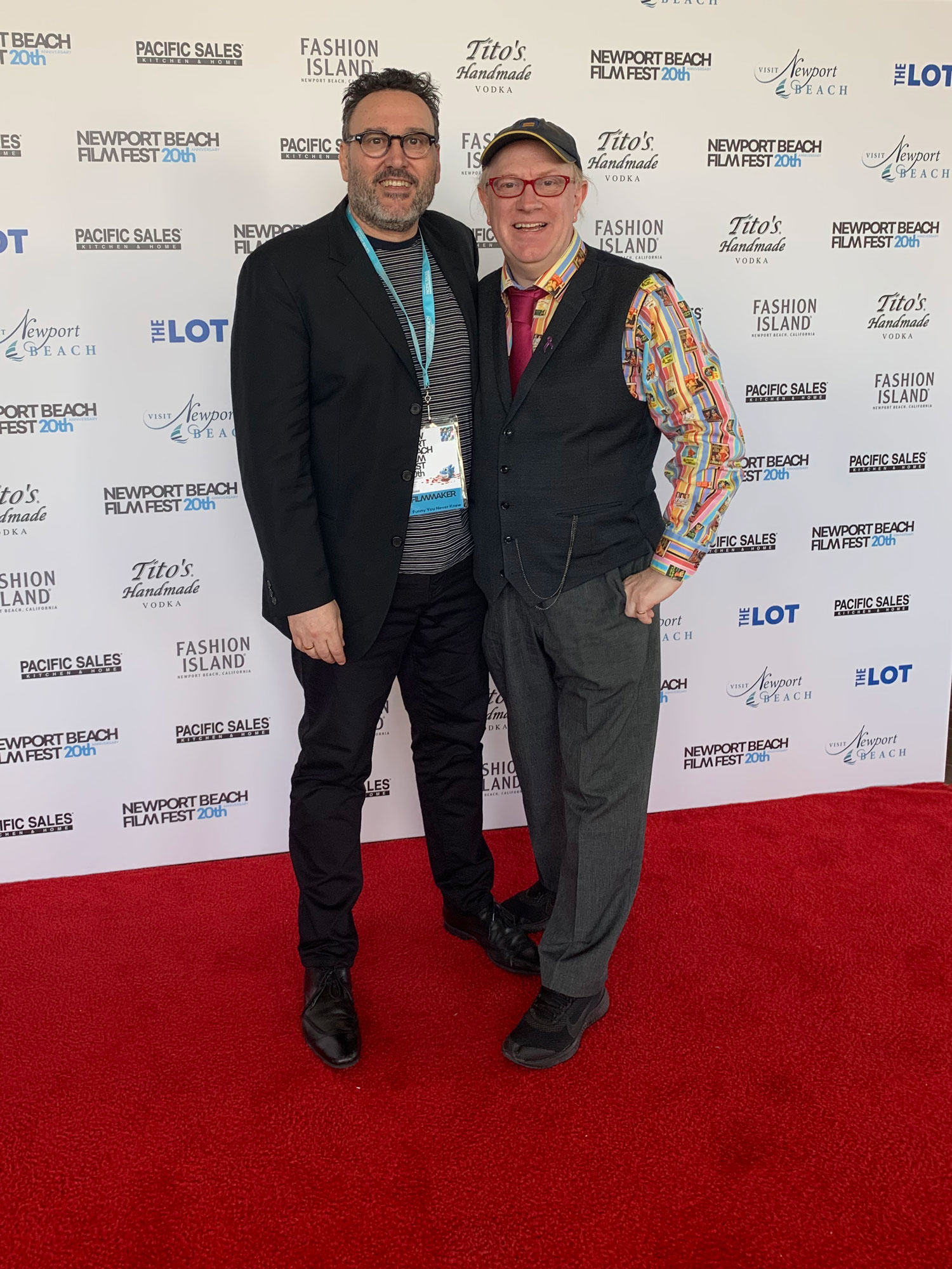 Andrew Hunt and Colin Goudie on the red carpet at the 20th annual Newport Beach Film Festival
