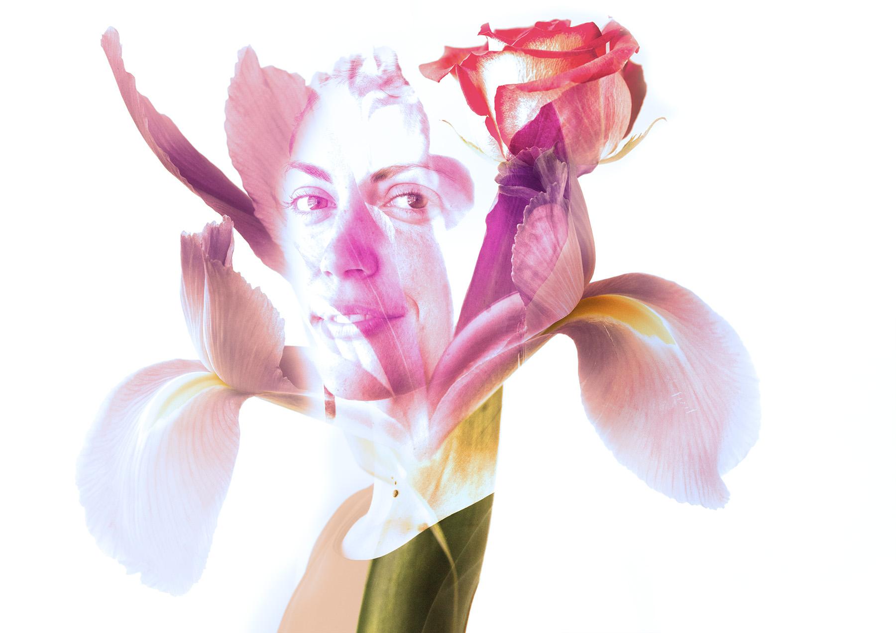 Miranda with an iris and rose.