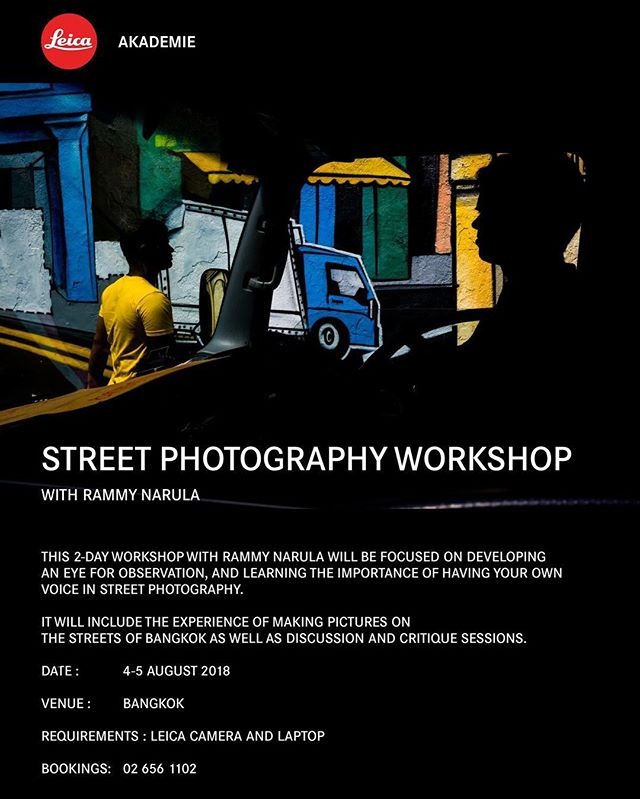 WORKSHOP in Bangkok - Psyched to be running a second street photography workshop with Leica Camera Thailand @leicacamerathailand - Send me DM for details if you're interested. Big thank you to @mr_danai and @kristiandowling for the continuous support. 🙏🏼 🥂