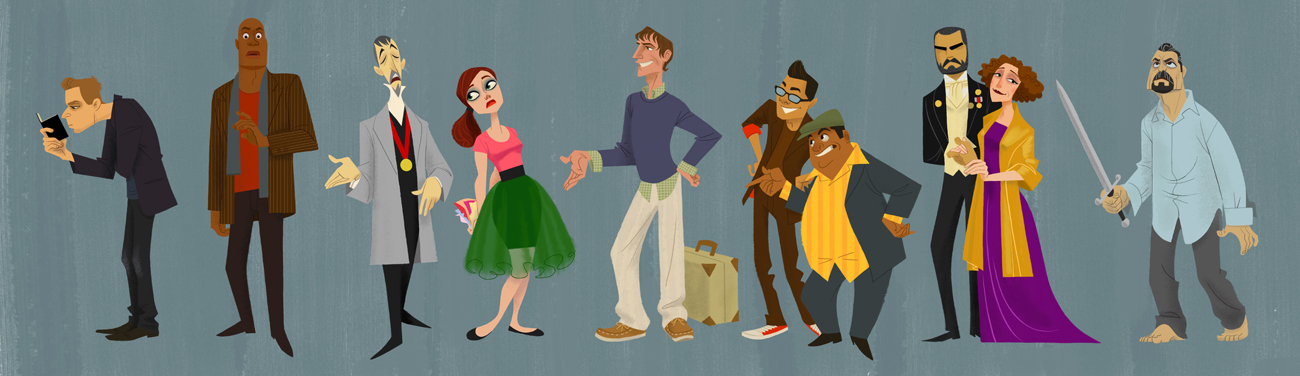 CHARACTER DESIGN Characters from books, radio, theatre, and history. Finished work and exploratory sketches.