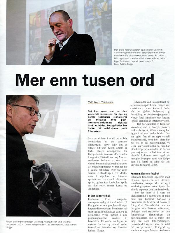Martin Parr og Dag Alveng under seminaret Flere Sider Fotografi i Billedkunst 2010