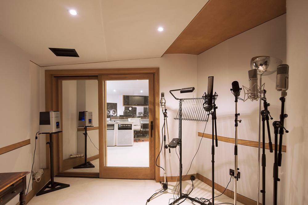 Vocal booth set up with our Brauner VMA, Rupert Neve RNR1, Shure SM7, Neumann u87 and Neumann u47.
