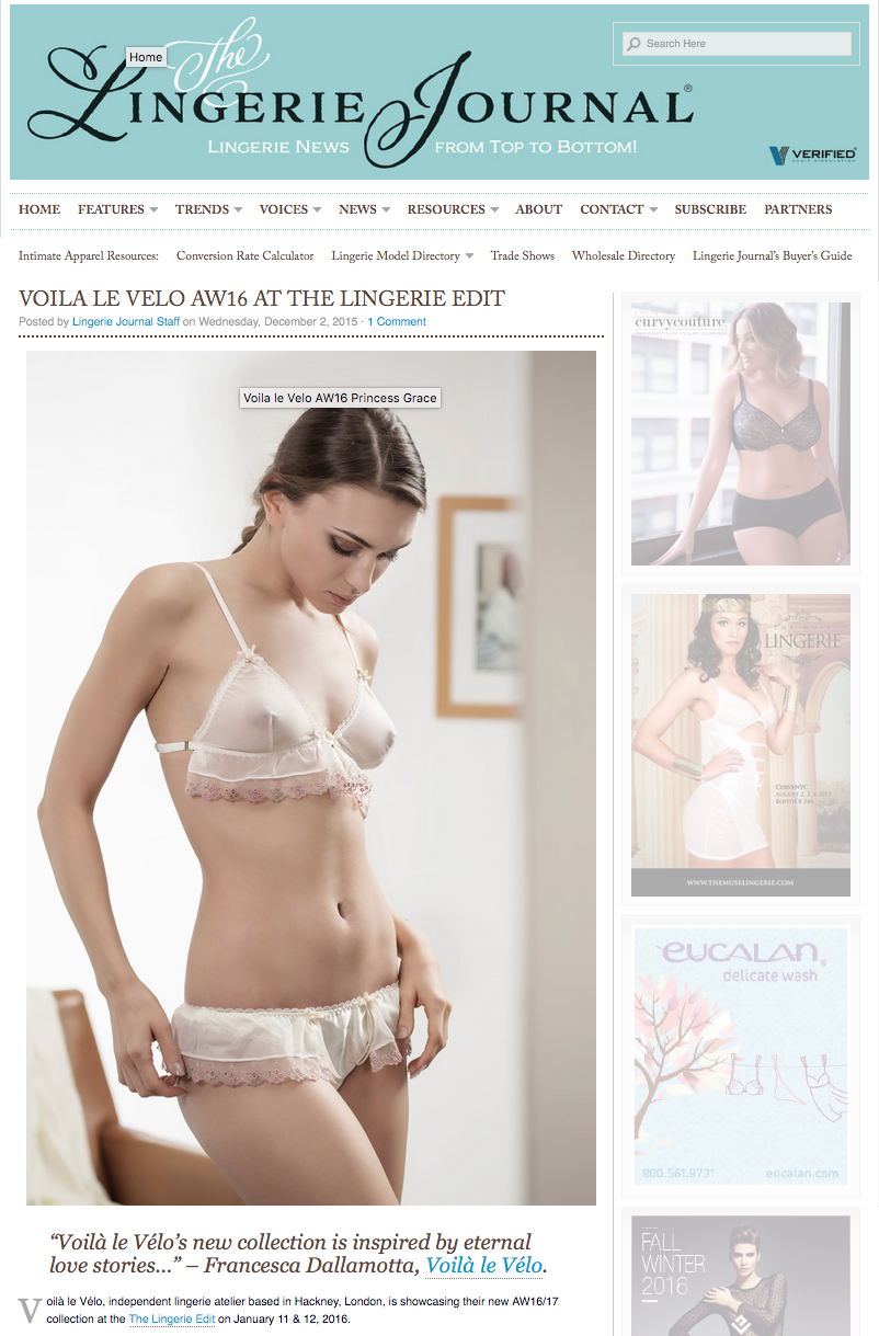 Another lovely piece on  The Lingerie Journal!