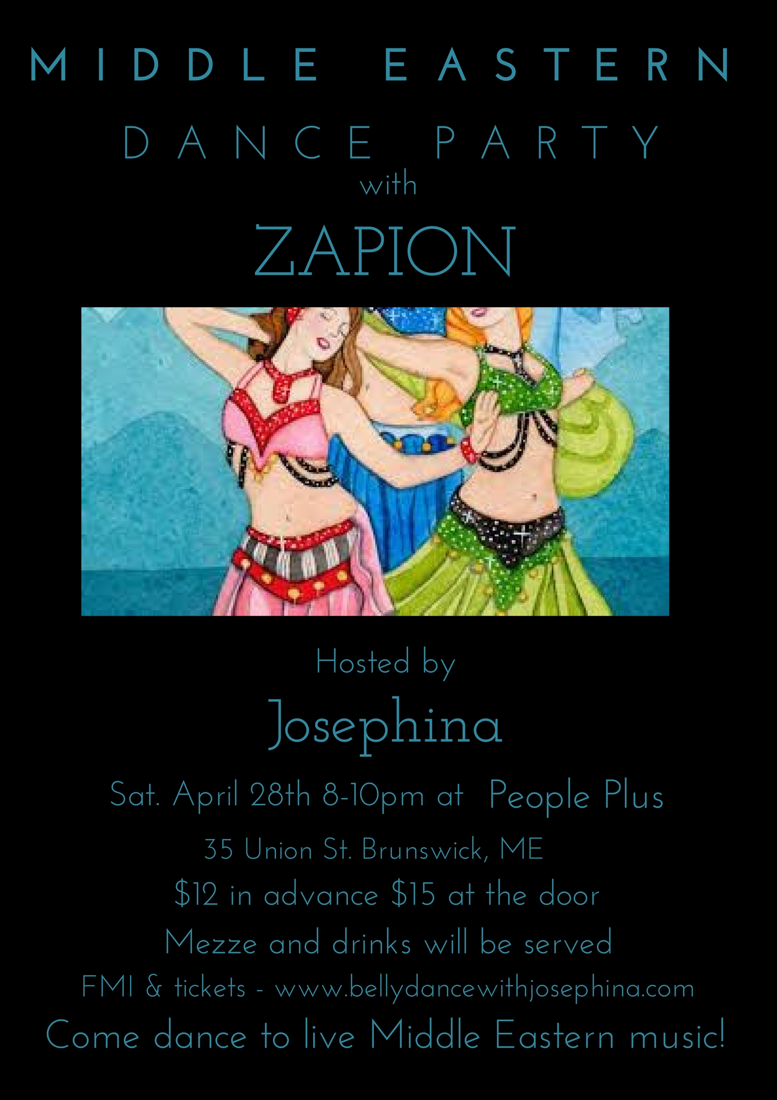 Doors open at 7:30pm  ---   To buy your tickets, go to  paypal.me/JosephinaGasca/12    ---                                                                                                   Check out  Zapion   If you have belly dance items to sell, there will be a table available.  Mark your items with your name and the asking price.