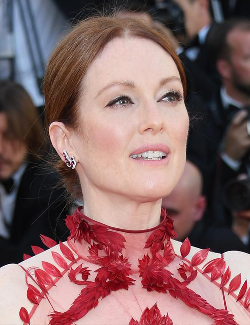 JULIANNE MOORE  wearing Chopard Earrings featuring Gemfields Mozambican Rubies and Diamonds.