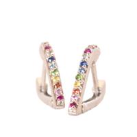 En Pointe Silver And Rainbow Huggy Earrings