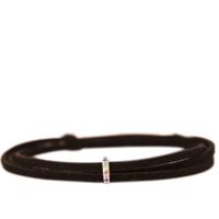 Silver and Gemstone Black Suede Wrap Necklace