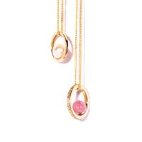 Gold, Diamond and Pink Tourmaline Halo Necklace