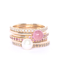 Diamond, Pink Sapphire, Ruby and Pearl Eternity Rings