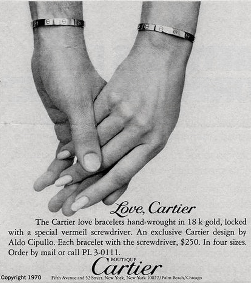 1970 newspaper advert for the Cartier Love Bracelet