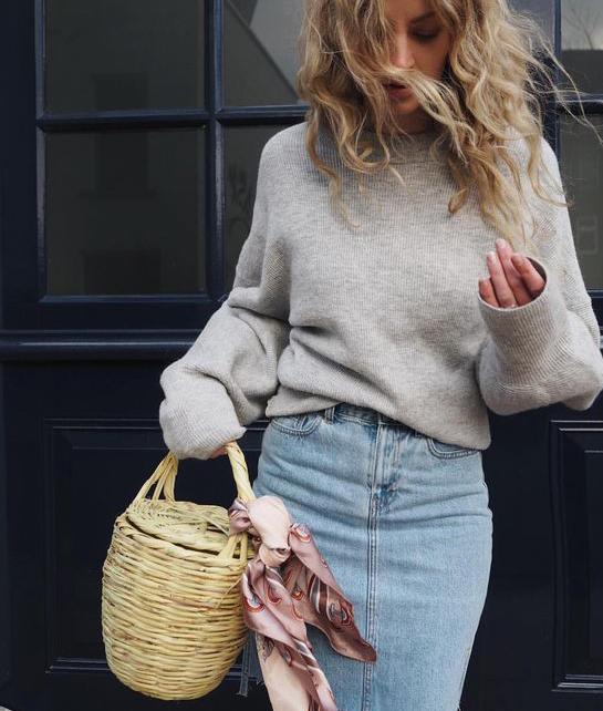 Silk Scarf tied on a handbag