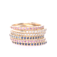 Gold, Diamond and Sapphire Eternity Ring Stack