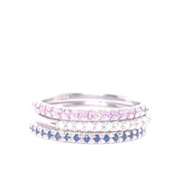 Silver and Sapphire Half Eternity Ring Stack