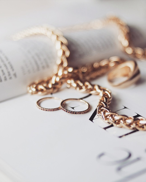 Image via Sinead Crowe at  lovestylemindfulness.co.uk , featuring our 14ct gold ruby and sapphire eternity and demi pointe rings