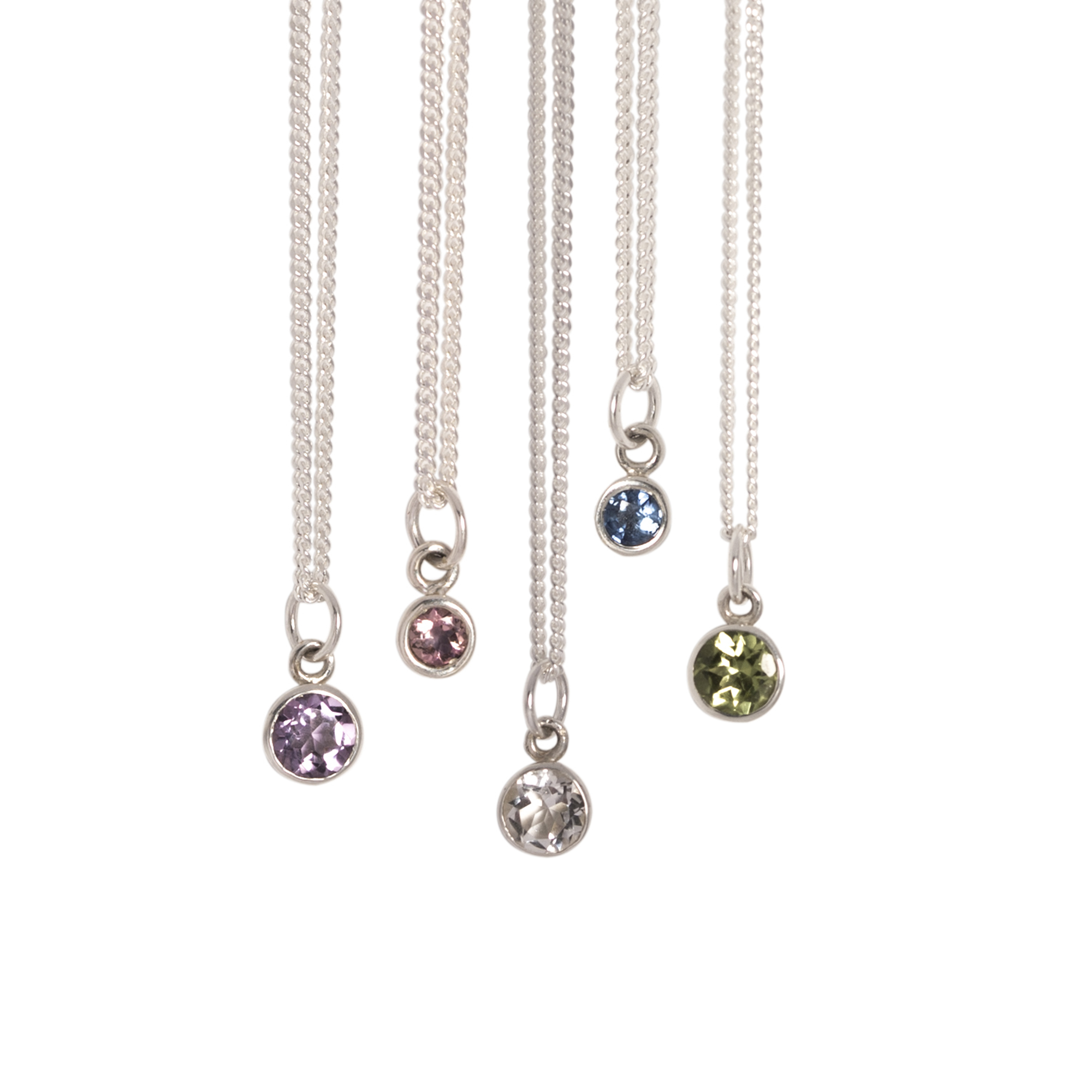 Silver Birthstone Necklaces