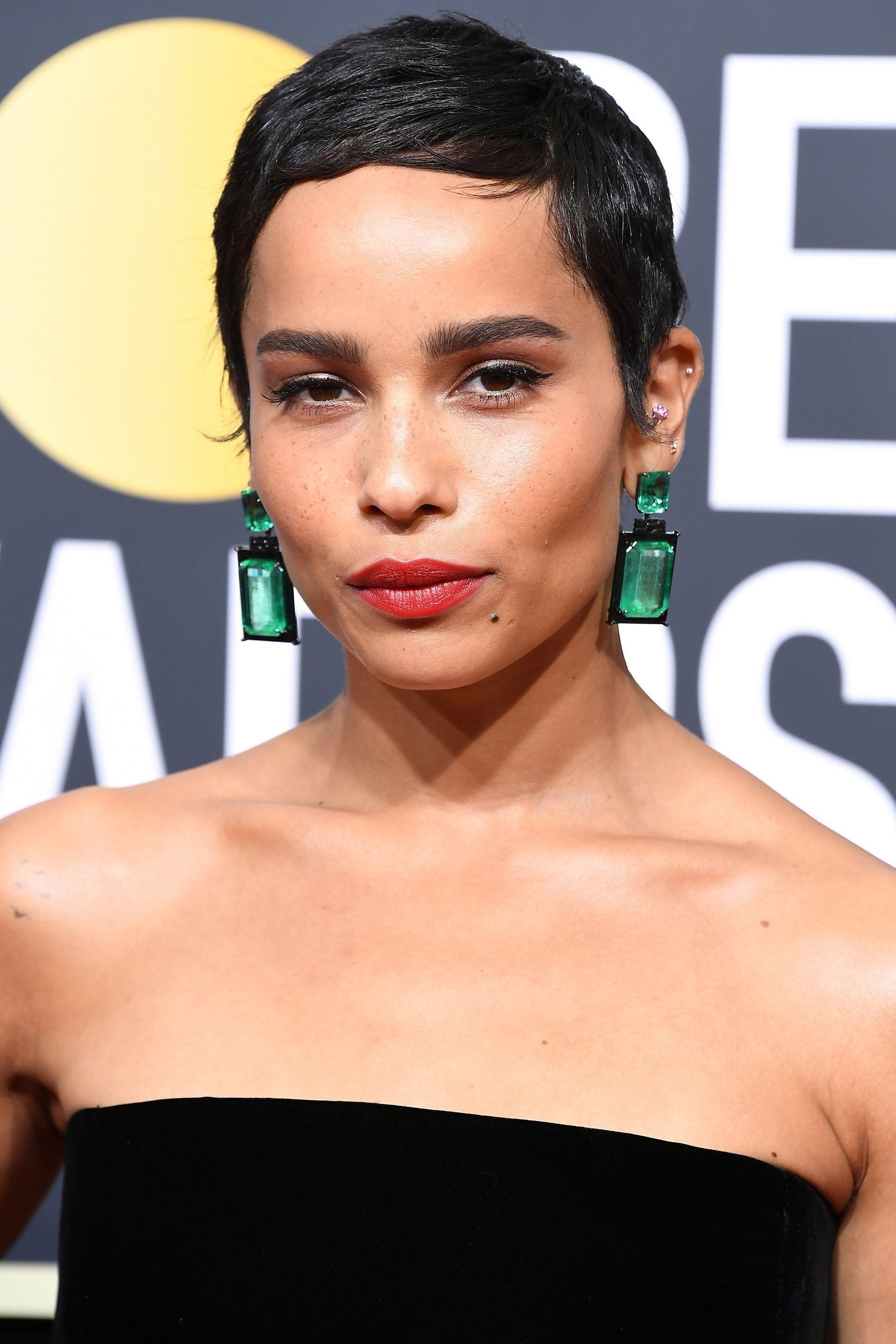 Zoe Kravitz  wearing Emerald Earrings