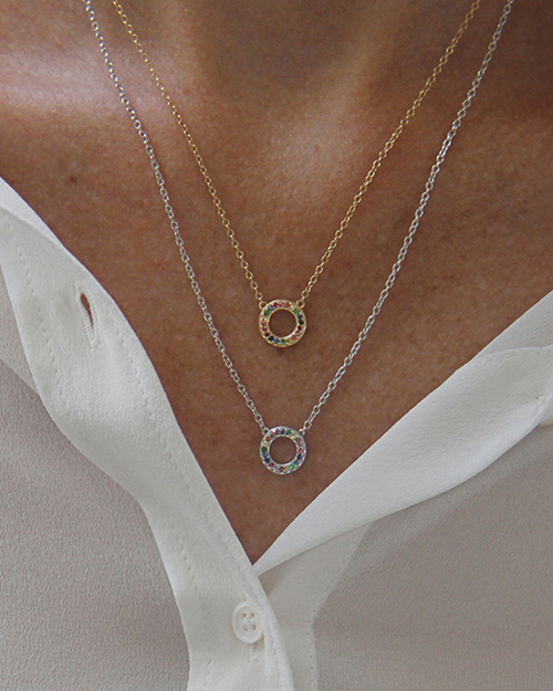 14ct Gold Rainbow Eternity Necklace  |  Silver Rainbow Eternity Necklace