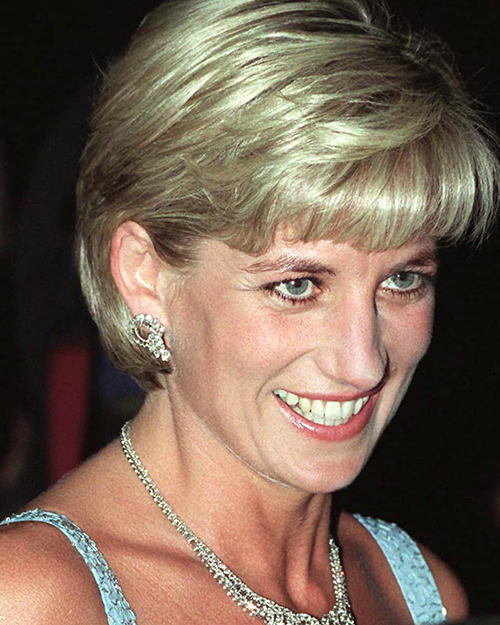 Princess Diana wearing diamond earrings without the pearl.