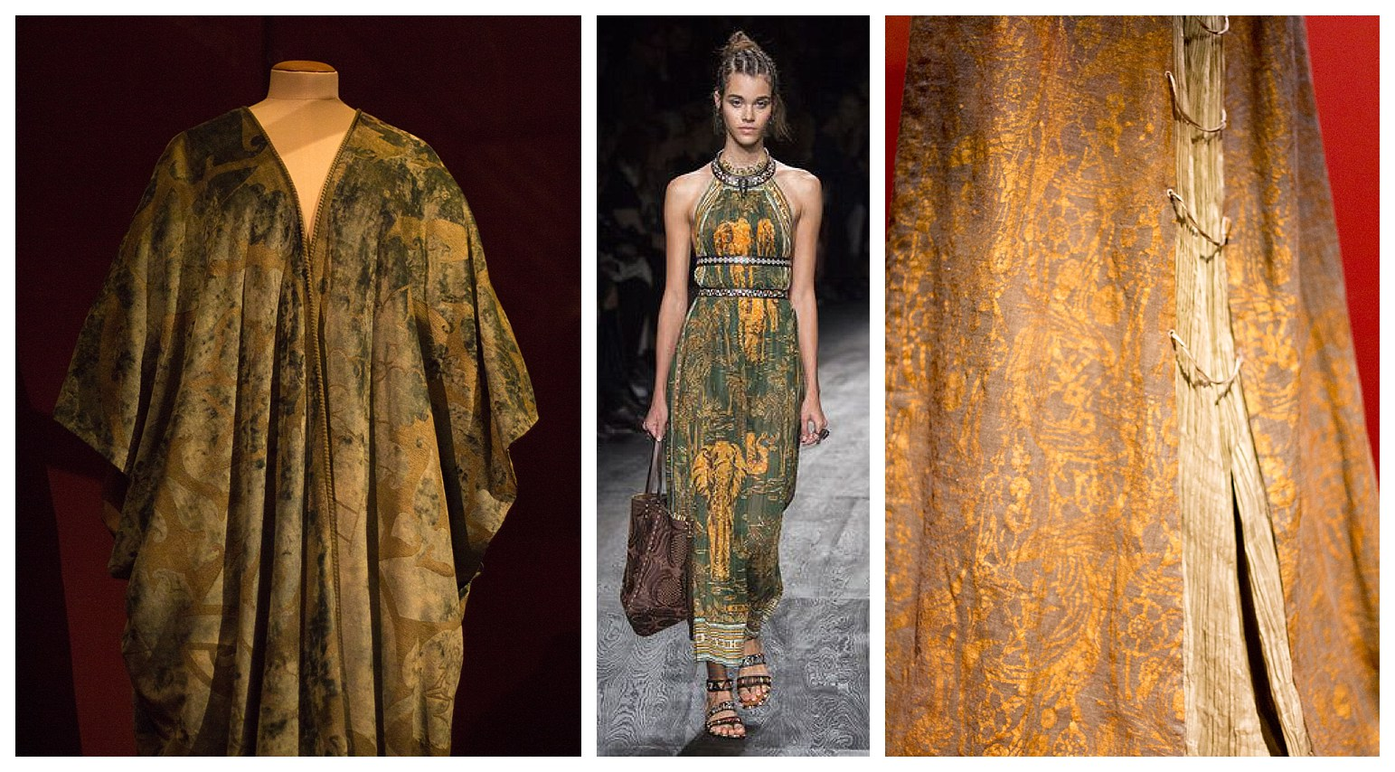 the centre photo in is the from the Valentino spring 2016 collection inspired by the prints, colours and lines of Mario Fortuny. Photos left and right are from the Palais Galleria exhibition.