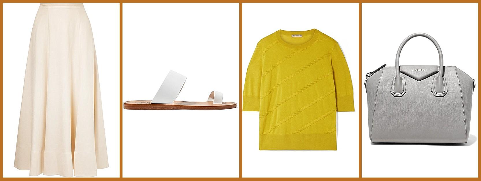From netaporter: Elizabeth and James skirt, Common Projects sandals, Bottega Veneta top, Givenchy bag