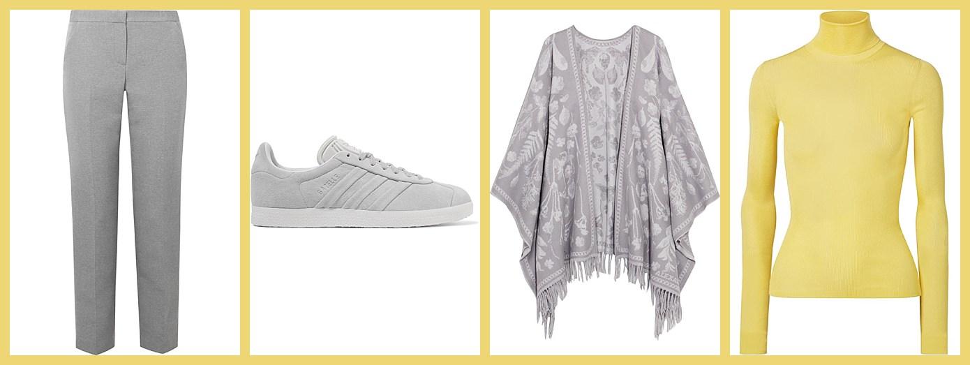From netaporter: The Row trousers, Adidas sneakers, Alexander McQueen wrap, Calvin Klein turtleneck