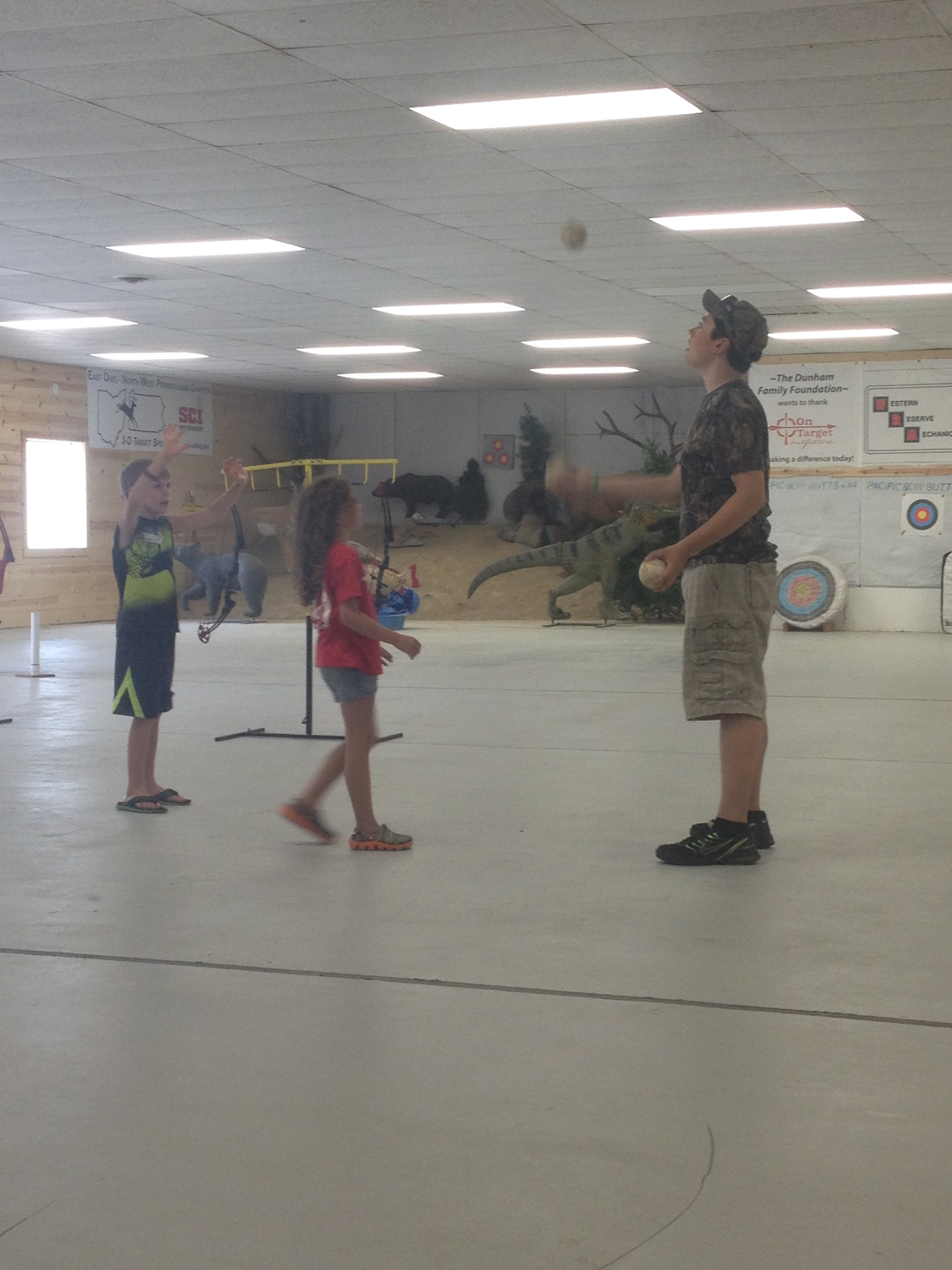 Clayton showing off his juggling skills to the campers.