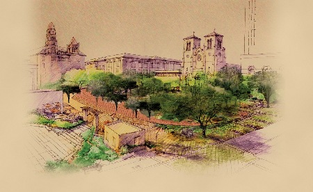 RENDERING OF MAIN PLAZA SHOWS THE BEXAR COUNTY COURTHOUSE ON THE LEFT, JUSTICE CENTER IN CENTER BACK, SAN FERNANDO CATHEDRAL CENTER RIGHT AND MUNICIPAL PLAZA BUILDING - SAN ANTONIO CITY COUNCIL CHAMBERS.  THE PLAZA INCLUDES FIVE (5) FOUNTAINS, STAIRS CASCADING DOWN TO THE RIVER WALK AND STATE OF THE ART KIOSKS & RESTROOM FACILITIES.